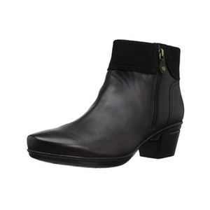 Clarks Black Leather Emslie Twist Suede Ankle Boot
